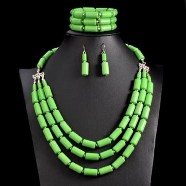 Nigerian Wedding Indian Jewelry Sets Beads Necklace Earring Bracelet Sets Green Jewelry Sets