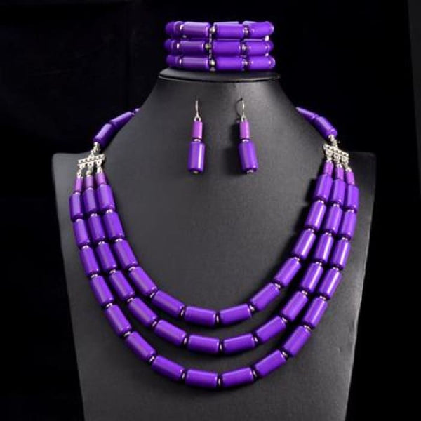 Nigerian Wedding Indian Jewelry Sets Beads Necklace Earring Bracelet Sets Purple Jewelry Sets