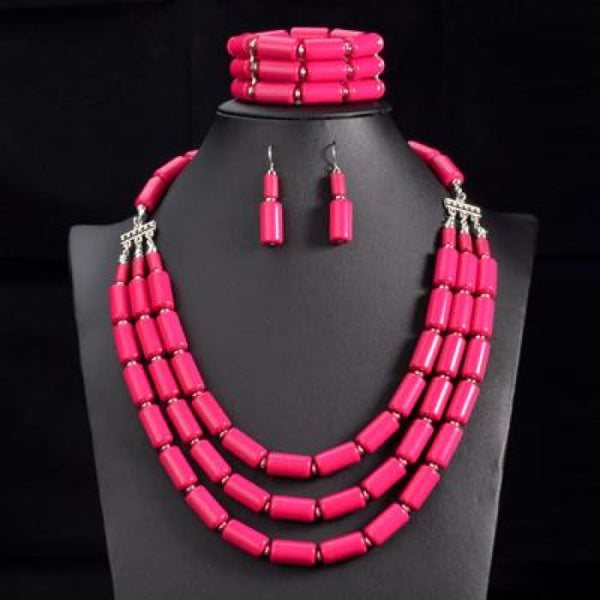 Nigerian Wedding Indian Jewelry Sets Beads Necklace Earring Bracelet Sets Rose Red Jewelry Sets