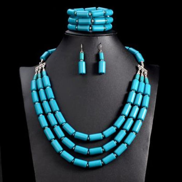 Nigerian Wedding Indian Jewelry Sets Beads Necklace Earring Bracelet Sets Sky Blue Jewelry Sets