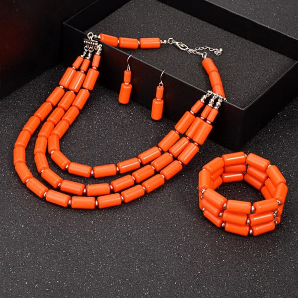 Nigerian Wedding Indian Jewelry Sets Beads Necklace Earring Bracelet Sets Jewelry Sets