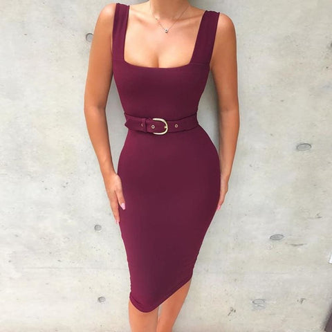 Nude Spaghetti Strap Bandage Dress Sexy Sleeveless Belt Dress