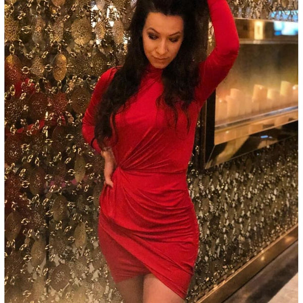 O Neck Short Red Satin Dress Sexy High Quality Mini Dress Party Club
