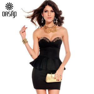 Oasap Women 2016 Newest Fashion Casual Black Fashion Strapless Ruffles Wrapped Chest Sexy Mini Dress-37801 Dresses