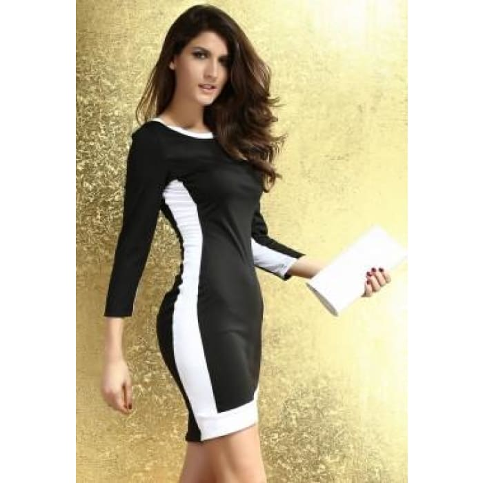 Oasap Women 2016 Newest Fashion Casual Color Block Long Sleeve O Neckline Casual Bodycon Sexy Dress-37907 Dresses