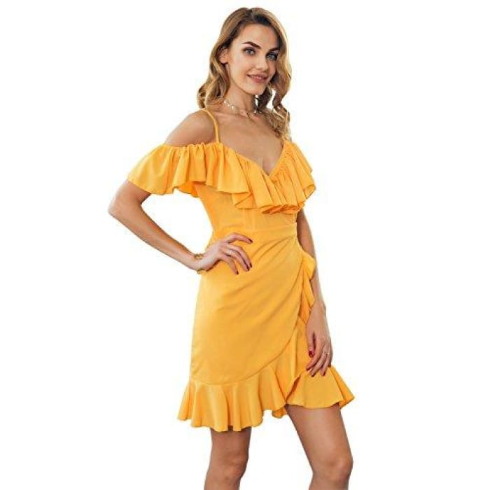 04e207c4ec Sainaluv - Off Shoulder Ruffle Dress Short Sleeve Mini Dress Casual