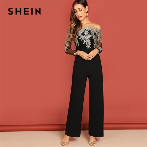 Off Shoulder Workwear Long Sleeve Straight Leg Jumpsuit