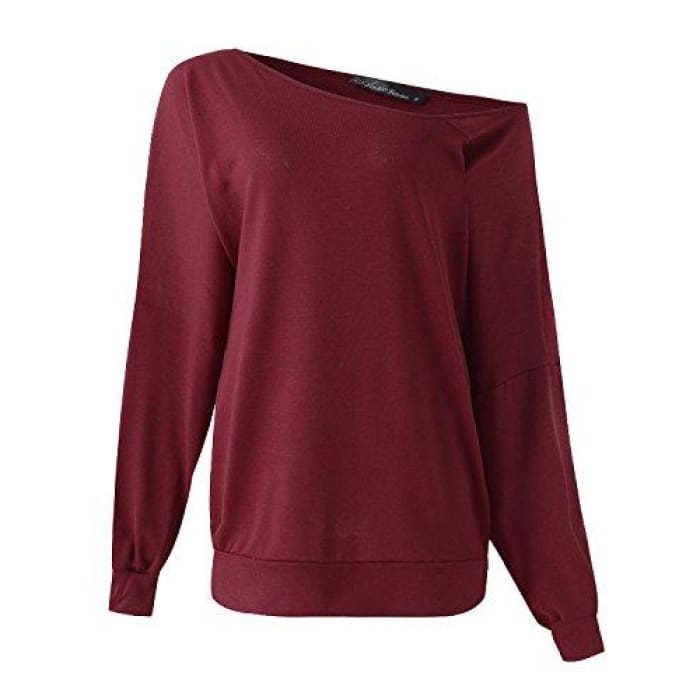 aea55d059b5 Off The Shoulder Tops Baggy Shirt Long Sleeve Blouse Oversized Sweater  Jumper Pullover