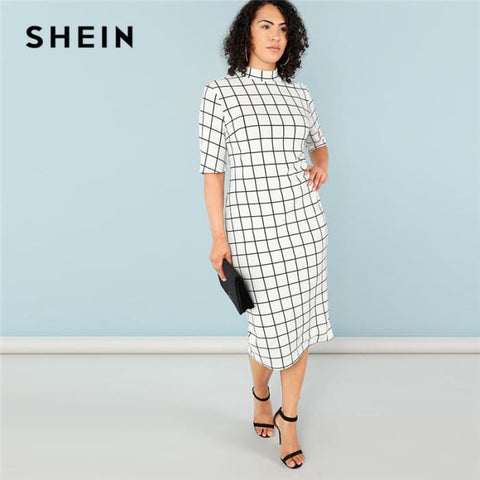 Office Lady Stand Collar Grid Print Slim Fit Dress