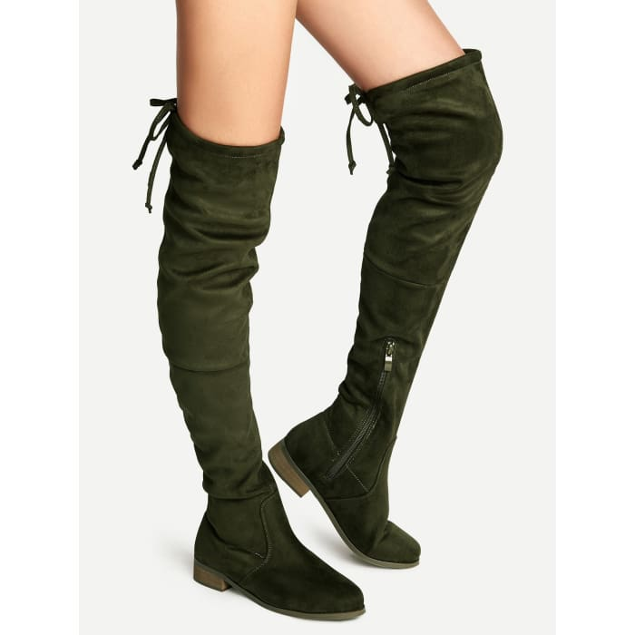 d989a411219 Sainaluv - Olive Green Suede Lace Up Over The Knee Boots