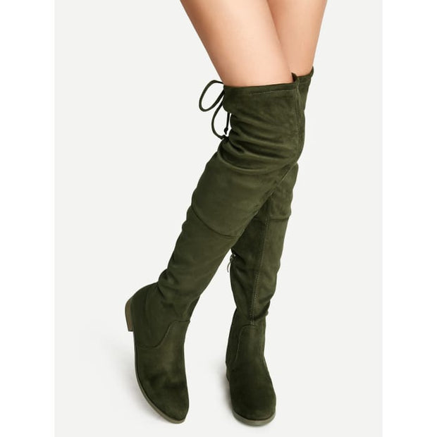 Olive Green Suede Lace Up Over The Knee Boots Boots