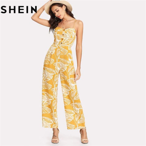 Palm Leaf Print Shirred Wide Leg Cami Palazzo Women Jumpsuit