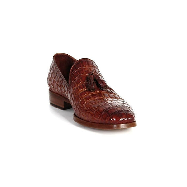 Paul Parkman Mens Brown Crocodile Embossed Calfskin Tassel Loafer (Id#0823-Brw) Men - Shoes - Loafers & Drivers
