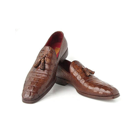 Paul Parkman Mens Brown Crocodile Embossed Calfskin Tassel Loafer (Id#pp2281-Brw) Men - Shoes - Loafers & Drivers
