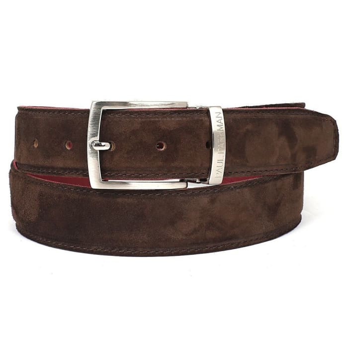 Paul Parkman Mens Brown Suede Belt (Id#b06-Brw) Men - Accessories - Belts