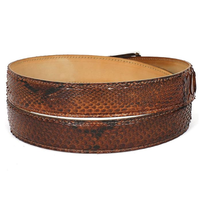 Paul Parkman Mens Camel Brown Genuine Python (Snakeskin) Belt (Id#b03-Cmlbrw) Men - Accessories - Belts