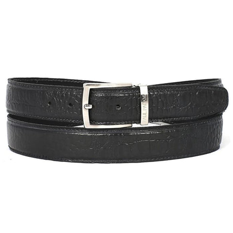 Paul Parkman Mens Crocodile Embossed Calfskin Leather Belt Hand-Painted Black (Id#b02-Blk) Men - Accessories - Belts