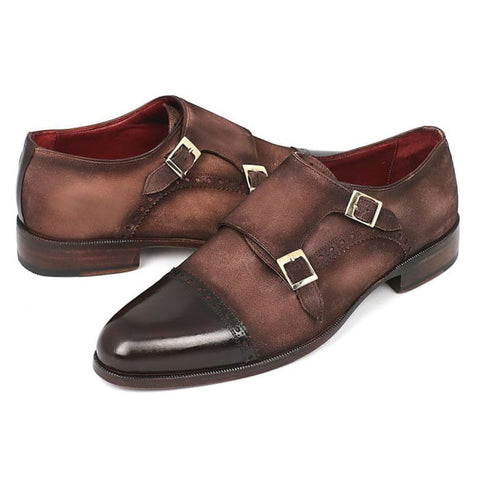 Paul Parkman Mens Double Monkstrap Captoe Dress Shoes - Brown / Beige Suede Upper And Leather Sole (Id#fk09) Men - Shoes - Oxfords