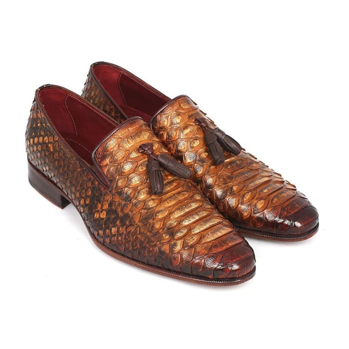 Paul Parkman Mens Genuine Python Tassel Loafers Camel (Id#26Cml75) Men - Shoes - Loafers & Drivers