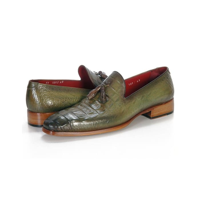 Paul Parkman Mens Green Crocodile Embossed Calfskin Tassel Loafer (Id#pp2281-Green) Men - Shoes - Loafers & Drivers