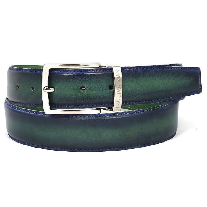 Paul Parkman Mens Leather Belt Dual Tone Blue & Green (Id#b01-Blu-Grn) Men - Accessories - Belts
