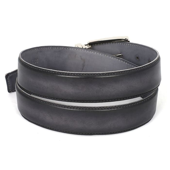 Paul Parkman Mens Leather Belt Dual Tone Hand-Painted Gray & Black (Id#b01-Gry-Blk) Men - Accessories - Belts