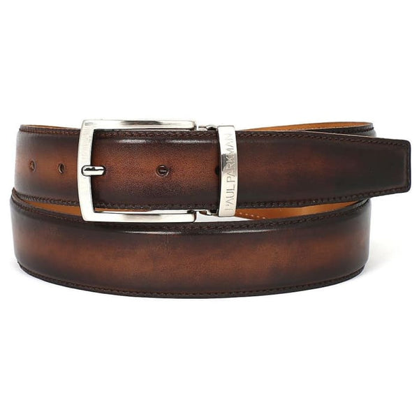 Paul Parkman Mens Leather Belt Hand-Painted Brown And Camel (Id#b01-Brwcml) Men - Accessories - Belts