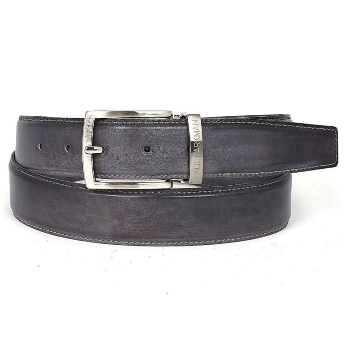 Paul Parkman Mens Leather Belt Hand-Painted Gray (Id#b01-Gray) Men - Accessories - Belts