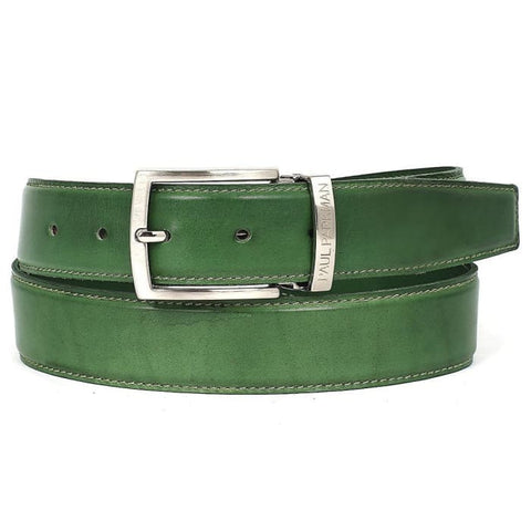 Paul Parkman Mens Leather Belt Hand-Painted Green (Id#b01-Lgrn) Men - Accessories - Belts