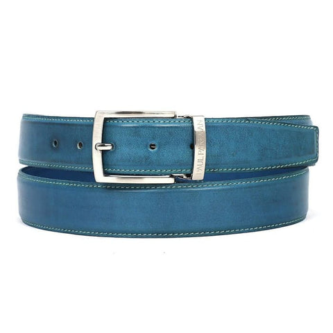 Paul Parkman Mens Leather Belt Hand-Painted Sky Blue (Id#b01-Skyblu) Men - Accessories - Belts