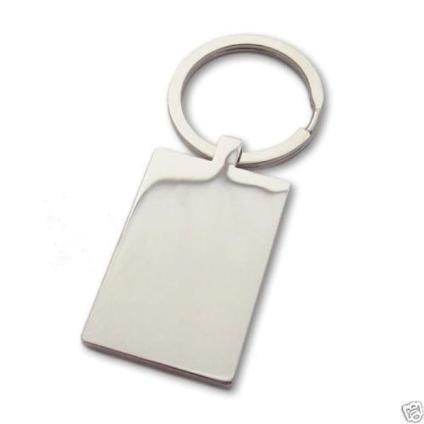Personalised St. Steel Rectangle Keyring | Photo Engraved Fathers Day Gift Key Chains Rings & Cases
