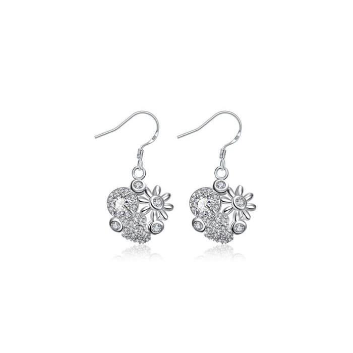 Petite Crystal Stone Blossoming Floral Drop Earrings