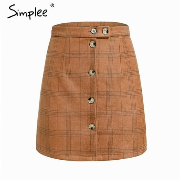 Plaid Front Buttom Mini Skirt A-Line High Waist Bodycon Pencil Skirt Brown / S