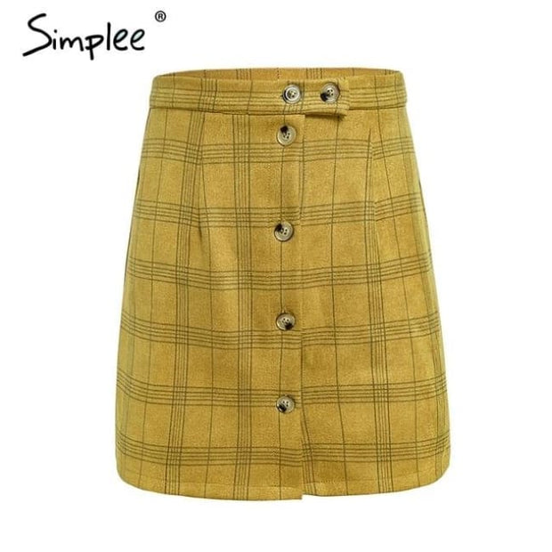 Plaid Front Buttom Mini Skirt A-Line High Waist Bodycon Pencil Skirt Ginger Yellow / S
