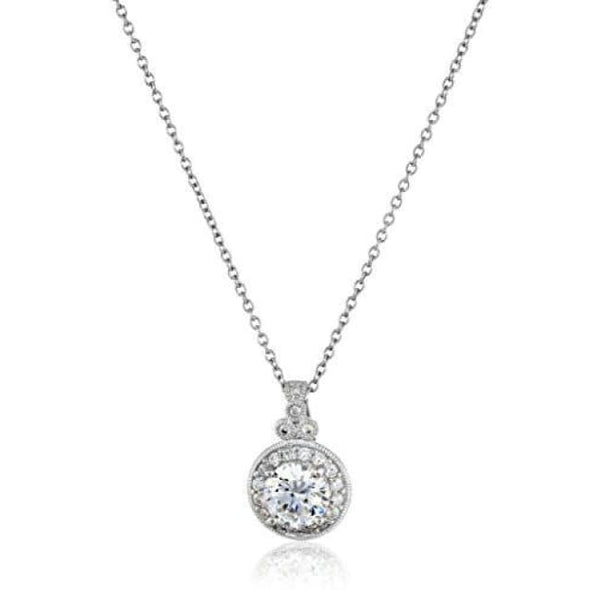 Platinum-Plated Sterling Silver And Swarovski Zirconia Round-Cut Antique Pendant Necklace 18 Fashion