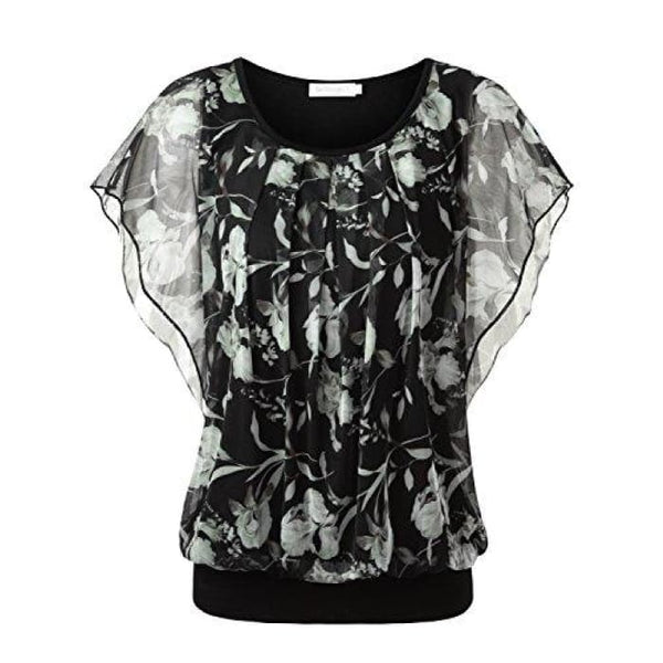 Printed Flouncing Flared Short Sleeve Mesh Blouse Top Black #2