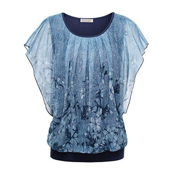 Printed Flouncing Flared Short Sleeve Mesh Blouse Top Blue #3