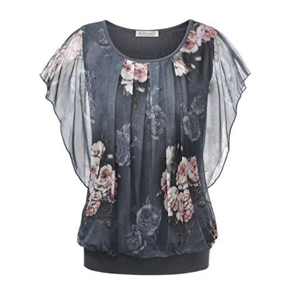 Printed Flouncing Flared Short Sleeve Mesh Blouse Top Grey