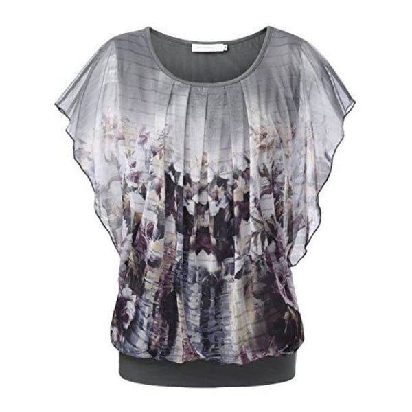 Printed Flouncing Flared Short Sleeve Mesh Blouse Top Light Grey