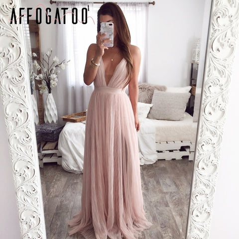 Sexy deep v neck backless summer pink dress
