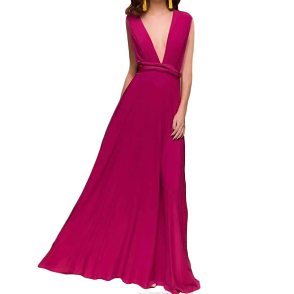 Sexy Women Multiway Wrap Convertible Boho Maxi Club Red Dress