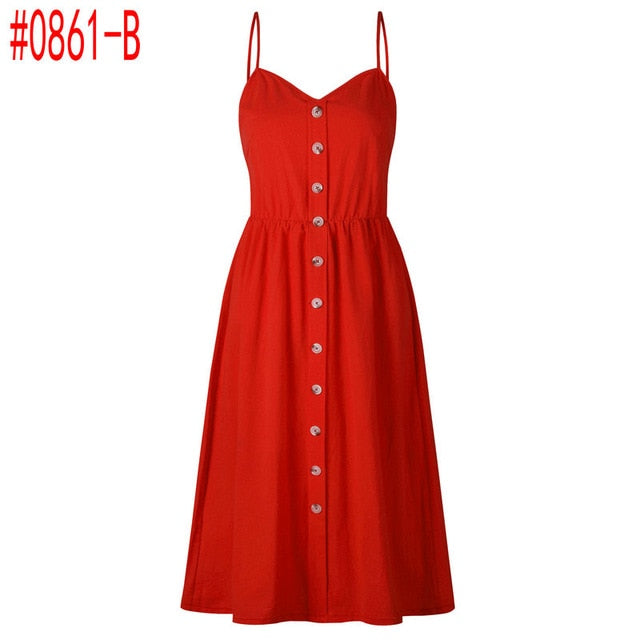 Tunic Beach Dress Sundress Pocket Red White Dress