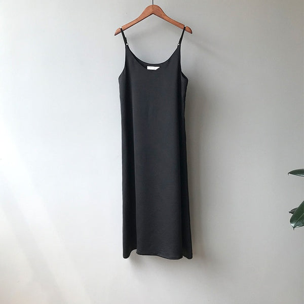Tank Dress Casual Satin Sexy Camisole Elastic Female Home Beach Dresses