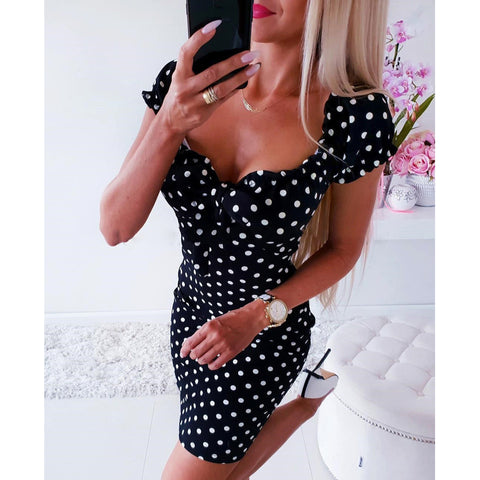 Short Sleeve V Neck Dot Dress