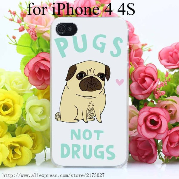 Pugs Not Drugs On Hard Case For Iphone 4 4S Phone Bags & Cases