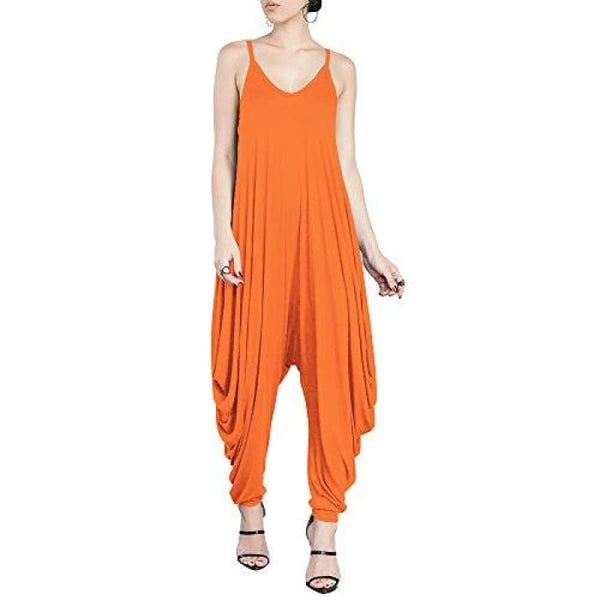 Punk Spaghetti Strap Jumpsuit V Neckline Comfy Loose Harem One Piece Romper Orange