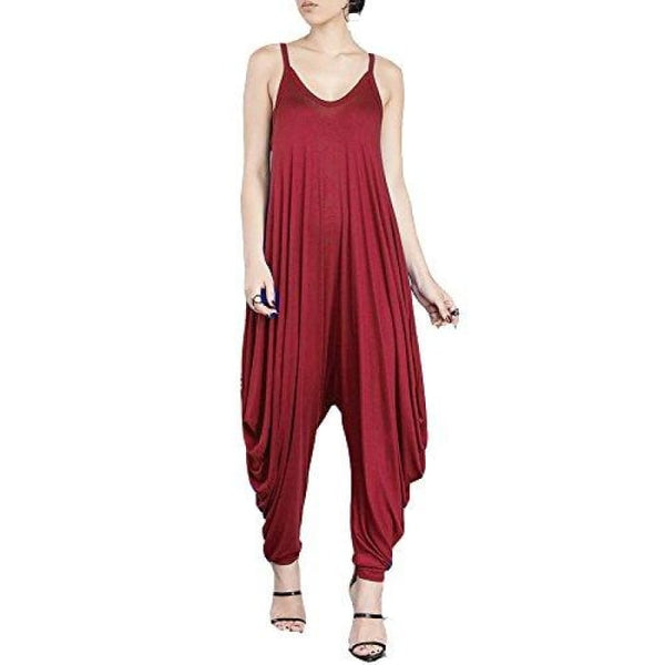 Punk Spaghetti Strap Jumpsuit V Neckline Comfy Loose Harem One Piece Romper Red