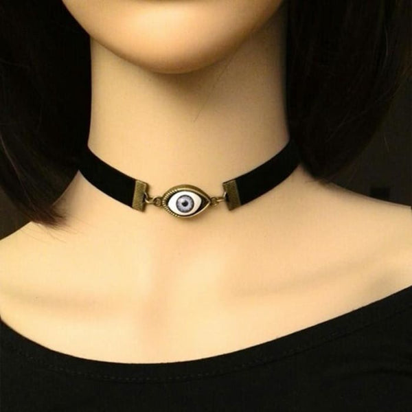 Punk Style Black Leather Chain Blue Evil Eye Choker Necklace Collares C283