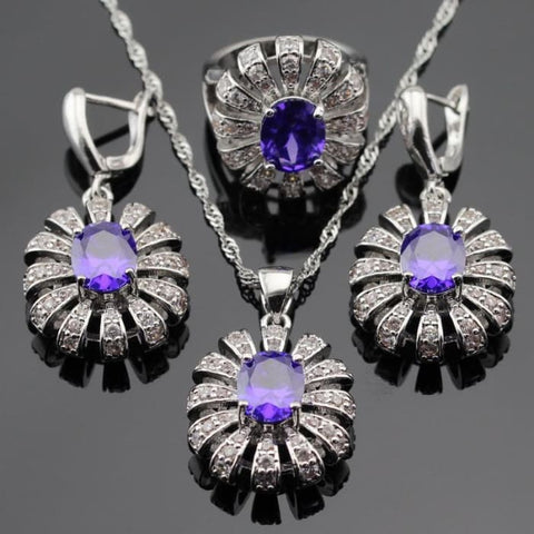 Purple Cubic Zirconia White Cz Silver Color Jewelry Sets Jewelry Sets