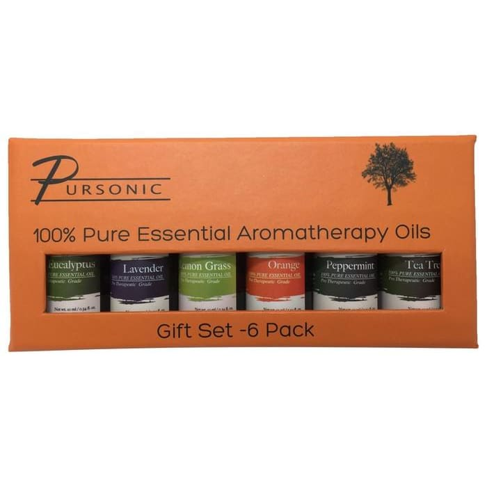 Pursonic Aromatherapy 100% Pure Therapeutic-Grade Essential-Oil Gift Set (6 Pack)